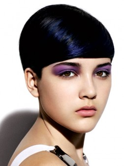 black hair color with blue shades